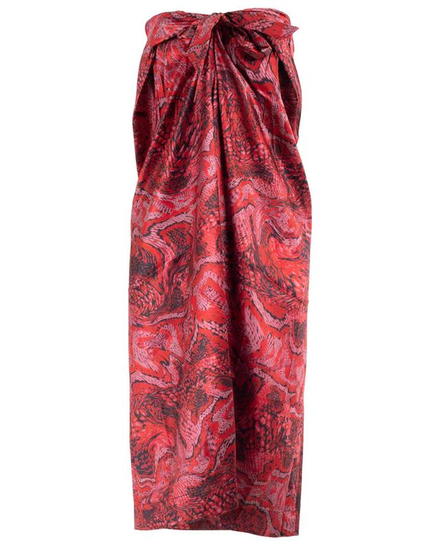 Silk wrap detail skirt with snakeskin print GANNI