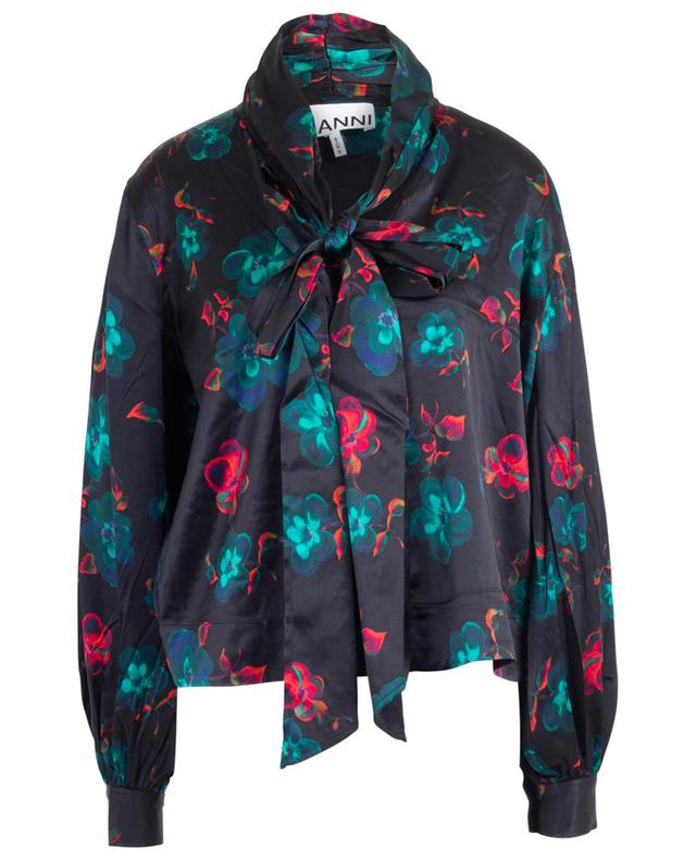 Floral satin blouse with necktie GANNI