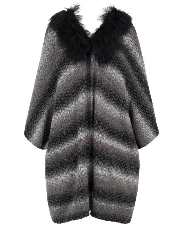 Wool blend poncho with fur GRAHAM&MARSHALL