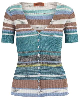Short-sleeved striped slim fit cardigan MISSONI