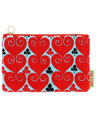 Small Hearts printed velvet pouch CORITA ROSE