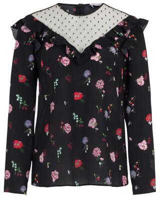 Cherry Blossom floral printed silk and tulle blouse RED VALENTINO