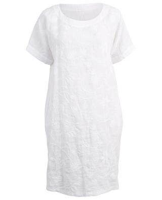 Foliage embroidered straight linen dress 120% LINO