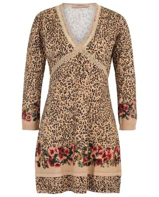 Leopard print knit dress with lace TWINSET