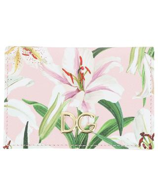 DG Logo lily print card holder with flap DOLCE & GABBANA