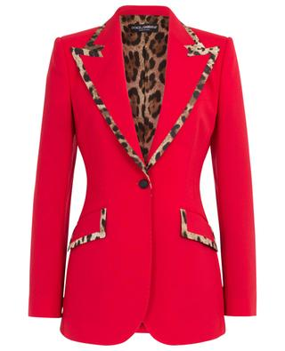 Red blazer with leopard trims DOLCE & GABBANA