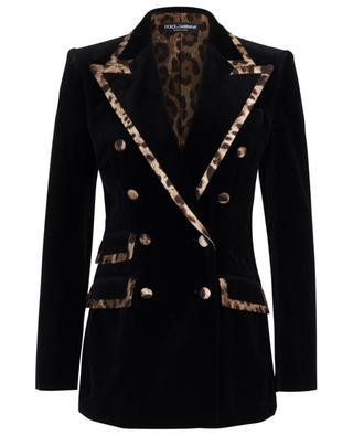 Double-breasted velvet blazer with leopard details DOLCE & GABBANA