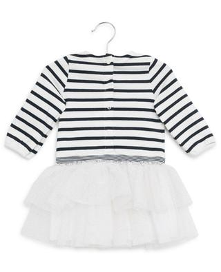 Striped cotton dress with glitter tulle PETIT BATEAU