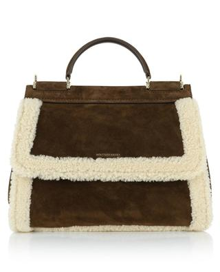 Sicily Soft Medium suede handbag with shearling lining DOLCE & GABBANA