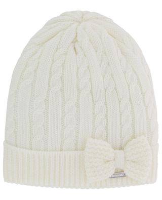 Cable knit beanie with glitter bow IL TRENINO