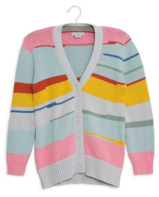 Multicolor Stripes sustainable cotton cardigan STELLA MCCARTNEY KIDS