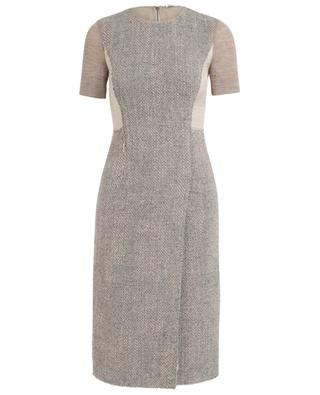 Tweed, lamé and wool short sleeved dress AGNONA
