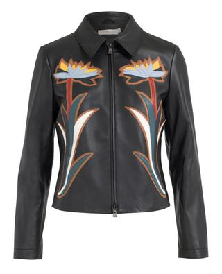 Zip-up leather jacket TORY BURCH