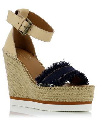 Glyn leather and denim wedge espadrilles SEE BY CHLOE