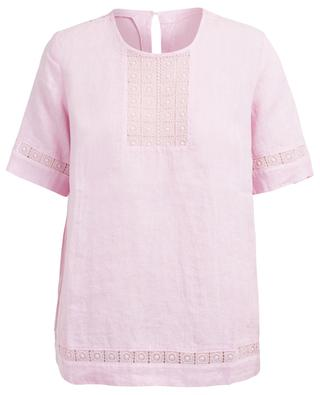 Lace embellished linen top 120% LINO
